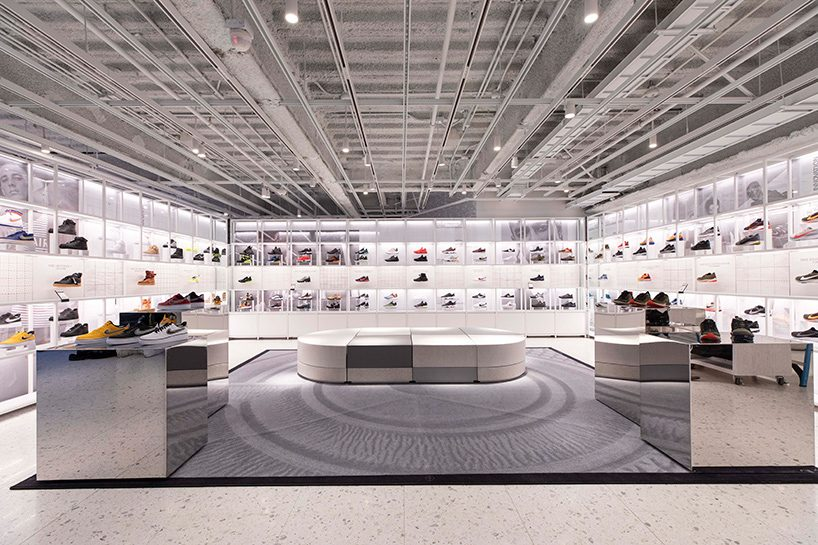 Nike 5th Avenue NYC Shoe Lab Showroom - Manton Cork Panels Installed on display walls (painted white).